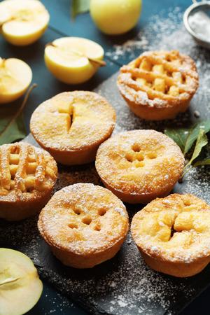 Yummy apple pies decorated sugar powder. Autumn pastry dessert on black board.