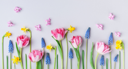 Beautiful spring flowers on pastel table background. Greeting card for International Women Day. Creative composition. Flat lay. Stock Photo