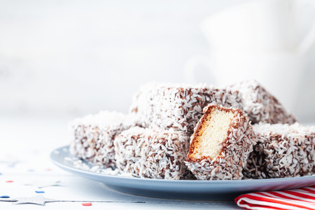Australian Lamington cakes or dessert for National Day party.