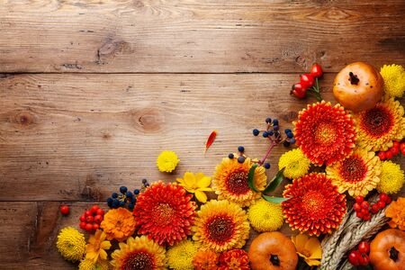 Autumn background with orange and yellow gerbera flowers, decorative pumpkins, wheat ears. Composition for Thanksgiving day on wooden table top view.