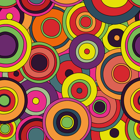 psychedelic circles seamless pattern, doodle texture in bright colors, pop culture styled background, vivid backdrop, 1960 fashion textile print, vector eps 8 editable