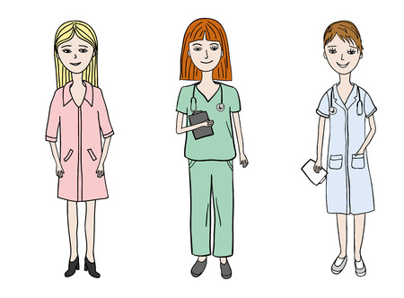 internist: three young woman dressed in medical uniform wearing stethoscopes, women doctor profession set.