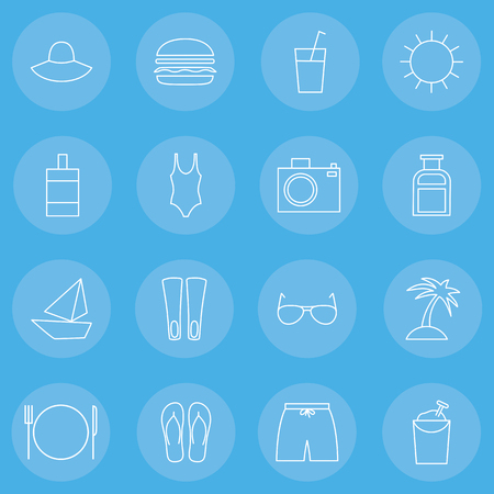 flippers: Travelling thin line icons set, beach and sea recreation outline icons. Minimalistic flat design, contains swimwear, food, luggage, photography, camera, sun, island, yacht icons, good for web and mobile. Illustration
