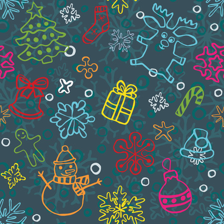 backgrouns: christmas seamless pattern of drawn by hand snowflakes and symbols for cards and backgrouns, vector eps 8