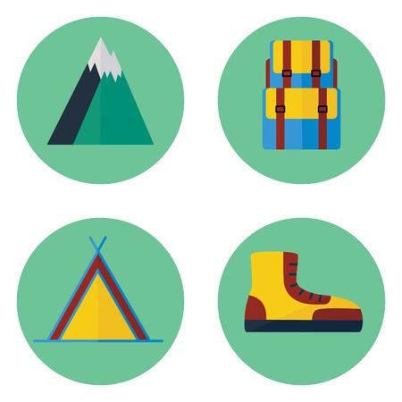 Camping and hiking flat icon set. Çizim