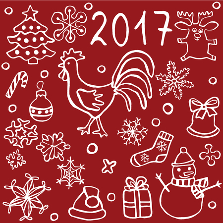 christmas cookie: christmas and new year icons set, with red rooster a symbol of 2017 new year, vector eps 8