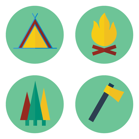 Set of  camping vector icons. Contains tent, campfire, axe, trees. Illustration