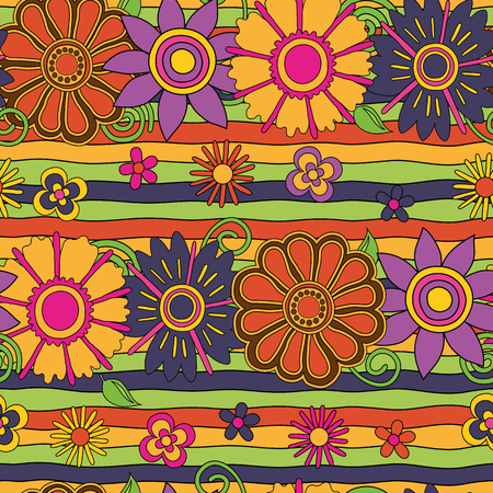 bright psychedelic flowers & lines  seamless pattern, editable, vector eps10