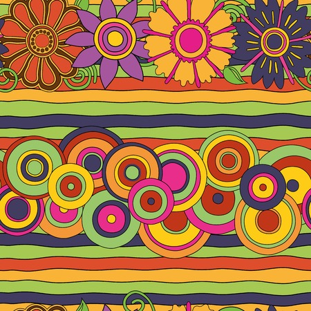 Psychedelic pattern in bright colors with flowers stripes and circles.