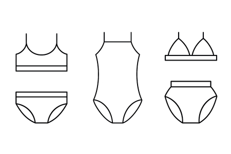 Girls and womans swimsuit, lingerie set outline icons set, flat design for logo web and mobile.
