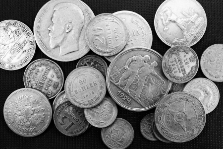 Silver antique coins Stock Photo