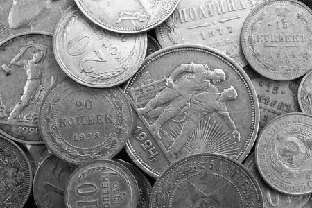 Silver antique coins Stock Photo