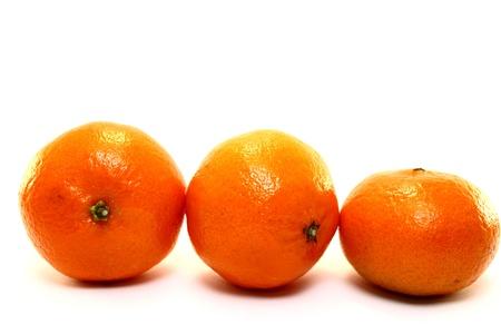 mandarins: Natural tangerine on white background Stock Photo