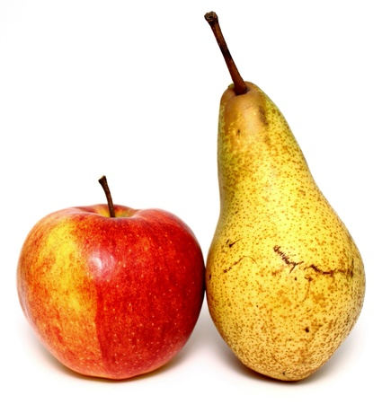 Juicy apple and pear closeup on white background Standard-Bild
