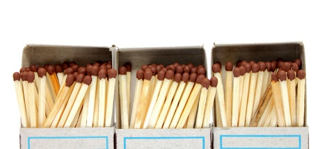 firestarter: A lot of matches in a box on a white background Stock Photo