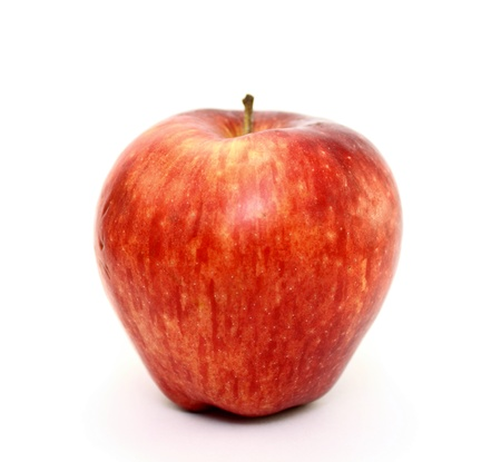 Juicy red apple on white background