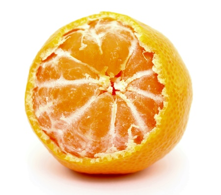 A juicy tangerine on white background photo