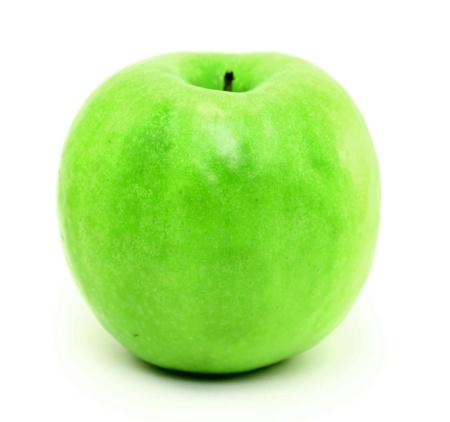 Green apple closeup on a white background Stock Photo