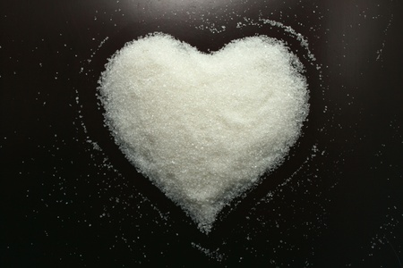 Abstract heart from sugar grains