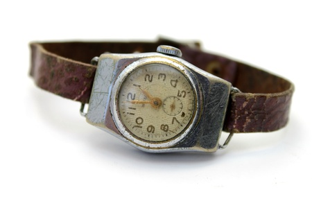 The old watch on white background close-up Stock Photo
