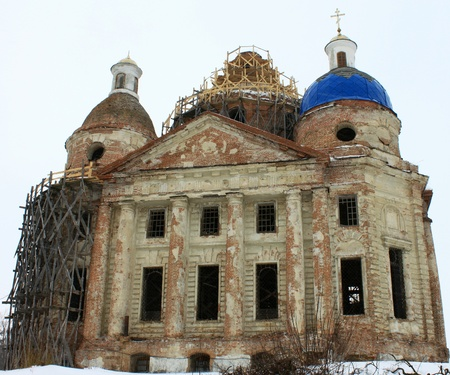 scaffolds: Old beautiful church