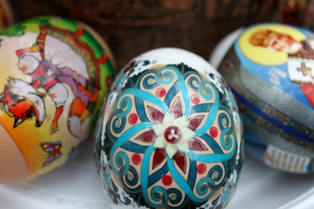 Colored Easter eggs closeup Stock Photo