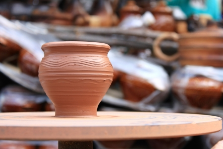 Clay pot spinning Stock Photo