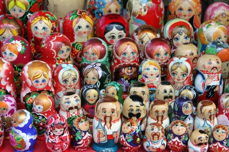 Many beautiful colored dolls