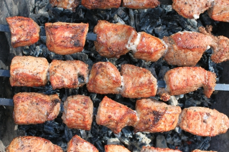 bar b que: Tasty delicious fried meat closeup Stock Photo