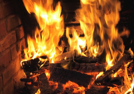cozy: Burning fire close-up, fireplace