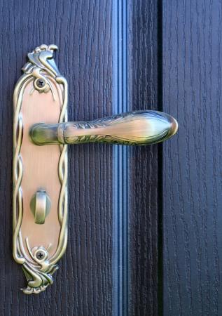 doorhandle: The iron doorhandle on the wooden doors close