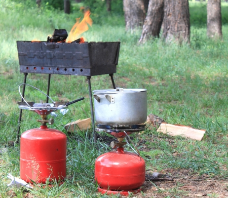 Gas cylinder and BBQ for cooking photo