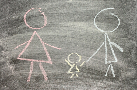 Drawing of family on blackboard photo