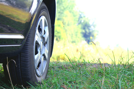 Car wheel in summer photo