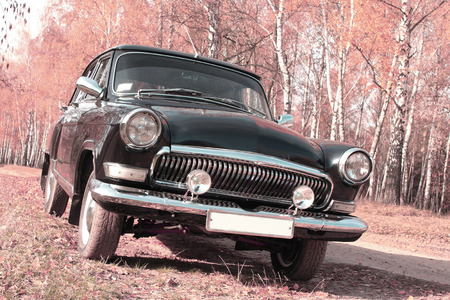 Retro postcard of the vintage car photo