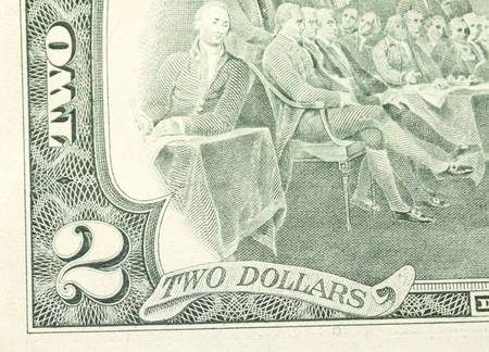 two dollar bill: Close up of american two dollar bill. Stock Photo