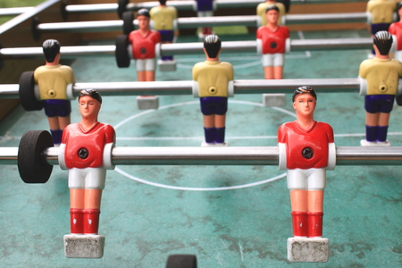 foosball: vintage table football closeup, foosball Stock Photo