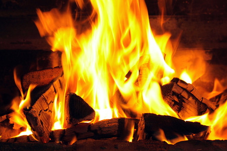 fire place: A nice fire with coals in a fire place close-up Stock Photo