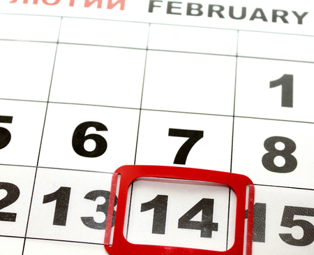 february 14: February 14 on the calendar, Valentines Day.