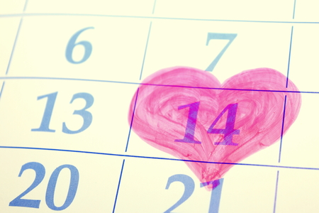 flicking: February 14 on the calendar, Valentines Day.