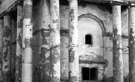archaeological: ancient ruins, old abandoned building, black and white photo