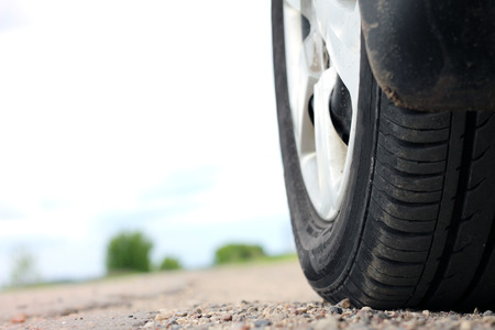 summer tire: Car wheel in summer, view from the road level from wheel of car
