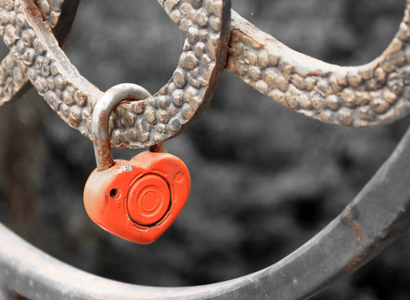 lifelong: Lock in heart shape on the railing of bridge - a symbol of happy and long married life of bride and groom