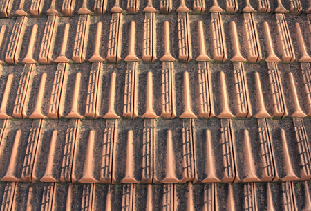 tiling: Close-up of roof tiles. Roof tiling.