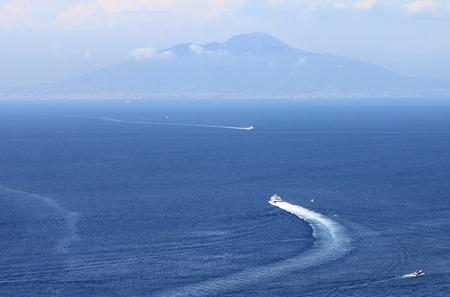 tyrrhenian: View from Capri to Vesuvius and the Tyrrhenian Sea, Italy. Stock Photo