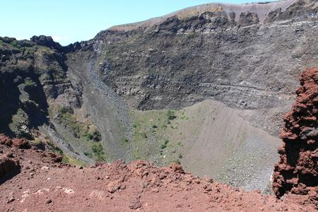 aerial bomb: Vesuvius volcano crater. Italy, Naples, near Pompeii.