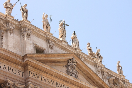 st  peter's square: Vatican city. Basilica. Fragments of St. Peters Square. Italy, Rome. Stock Photo