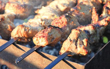 shashlik: Grilling shashlik on barbecue grill. Pork barbeque.