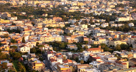 italian architecture: Beautiful city landscape in style of traditional Italian architecture at sunset. Amalfi Coast, Italy.