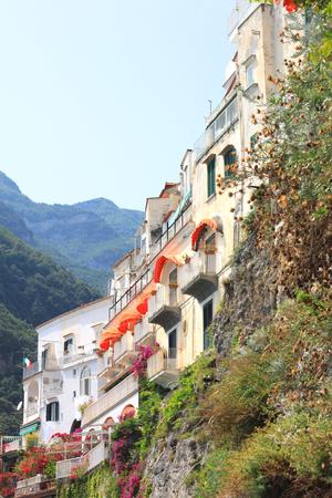 italian architecture: Beautiful city landscape in style of traditional Italian architecture. Amalfi Coast, Italy.